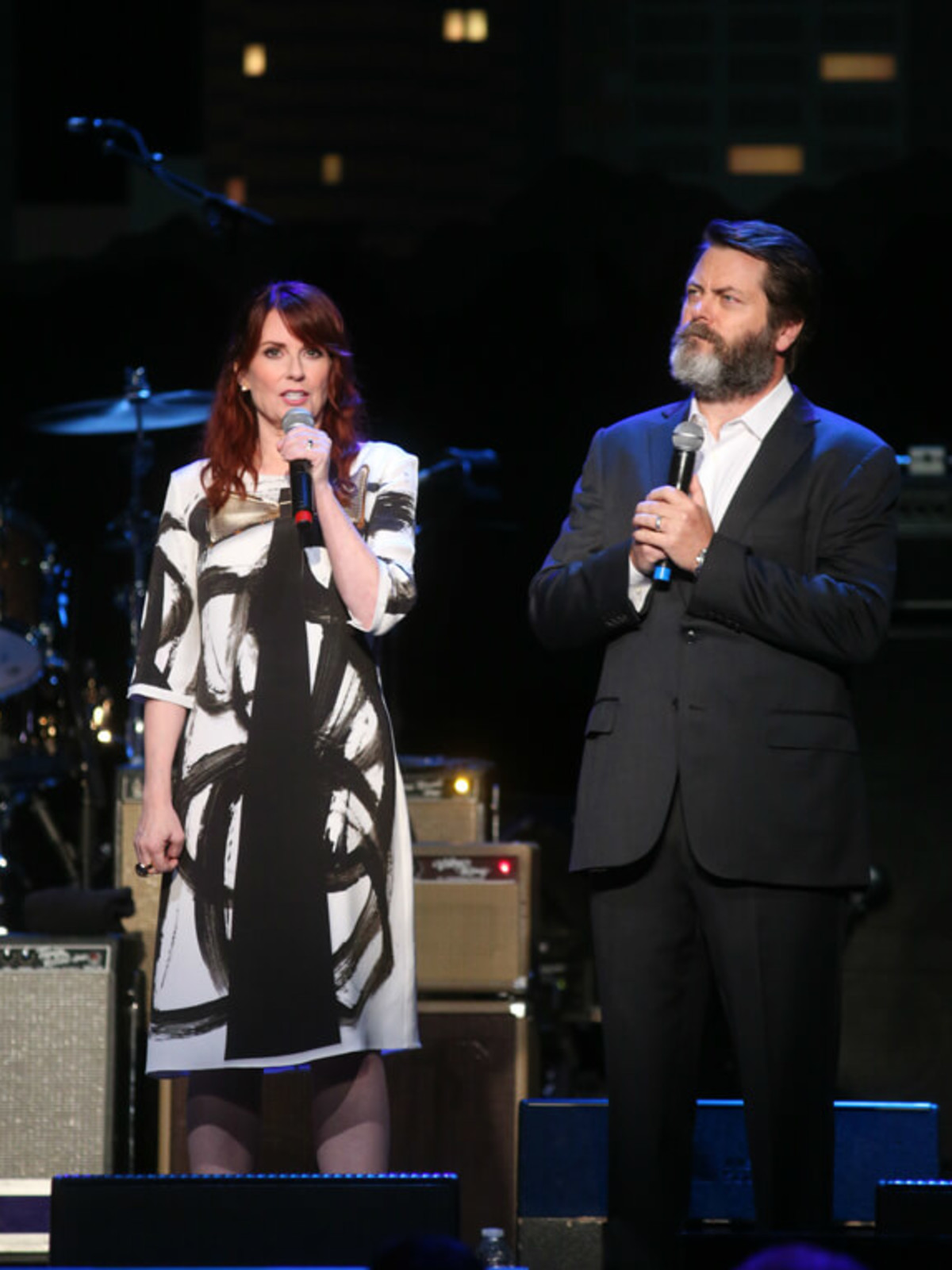 Austin City Limits Hall of Fame induction 2016 hosts Megan Mullally Nick Offerman