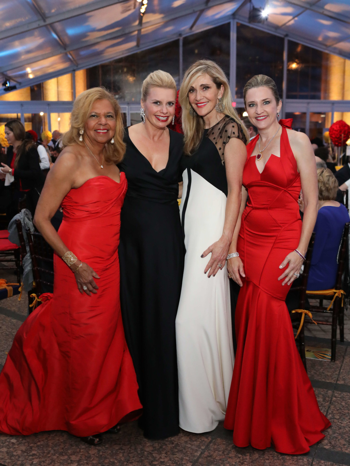 Yvonne Cormier, Valerie Dieterich, Jana Arnoldy, Mary D'Andrea at Houston Grand Opera opening night