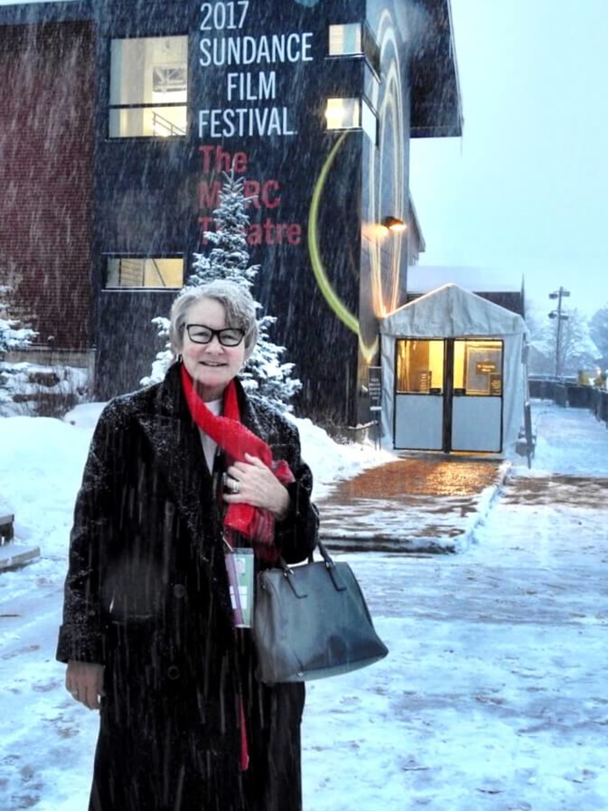 Jane Howze negotiating the unprecedented snowfall the film goers have had to negotiate this week