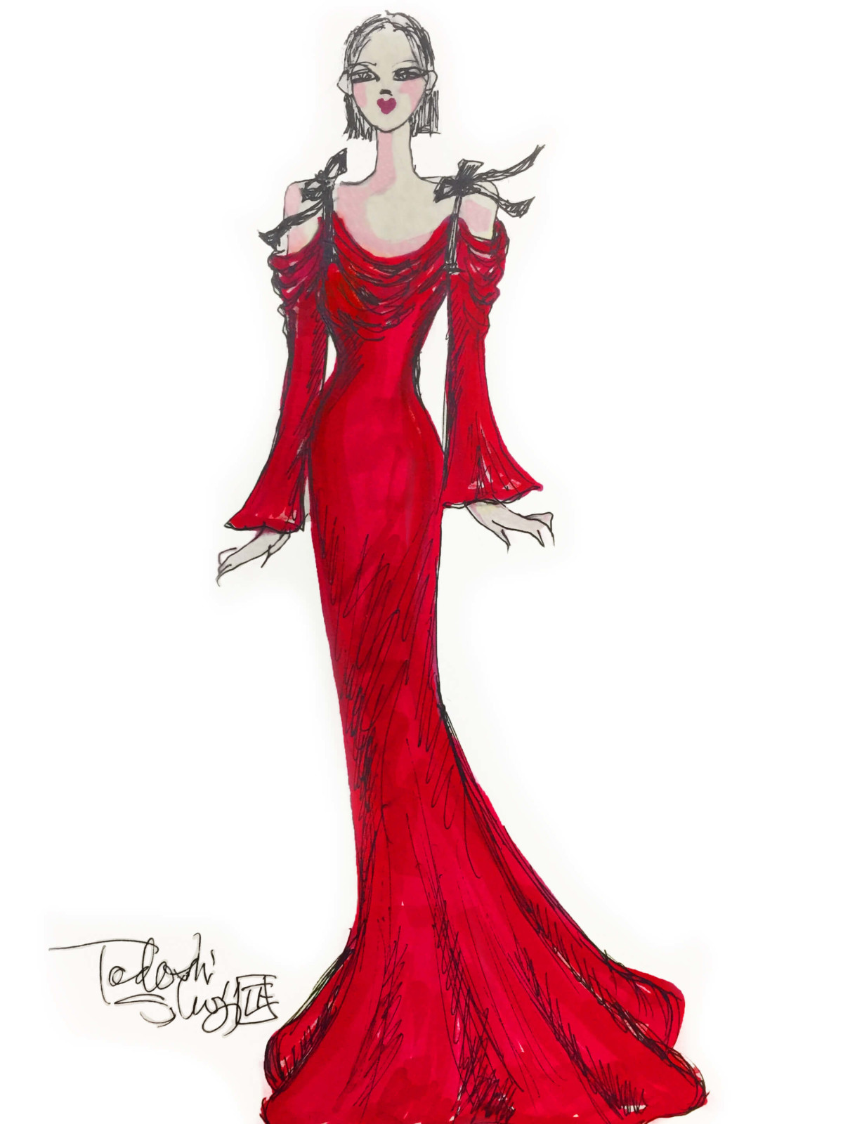 Tadashi Shoji inspiration sketch New York Fashion Week fall 2017