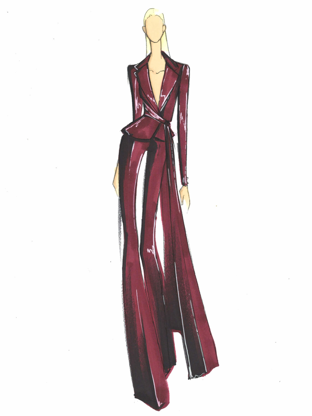 Pamella Roland fall 2017 inspiration sketch