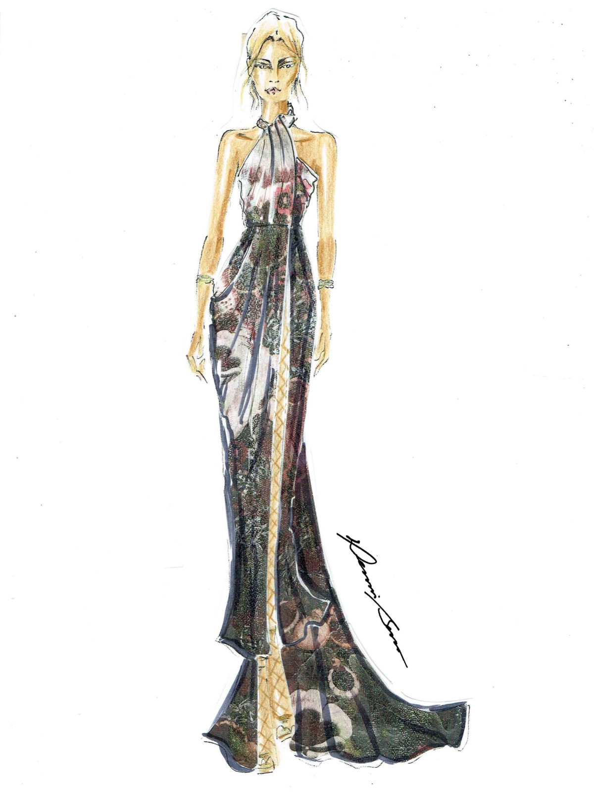 Dennis Basso designer inspiration sketch fall 2017
