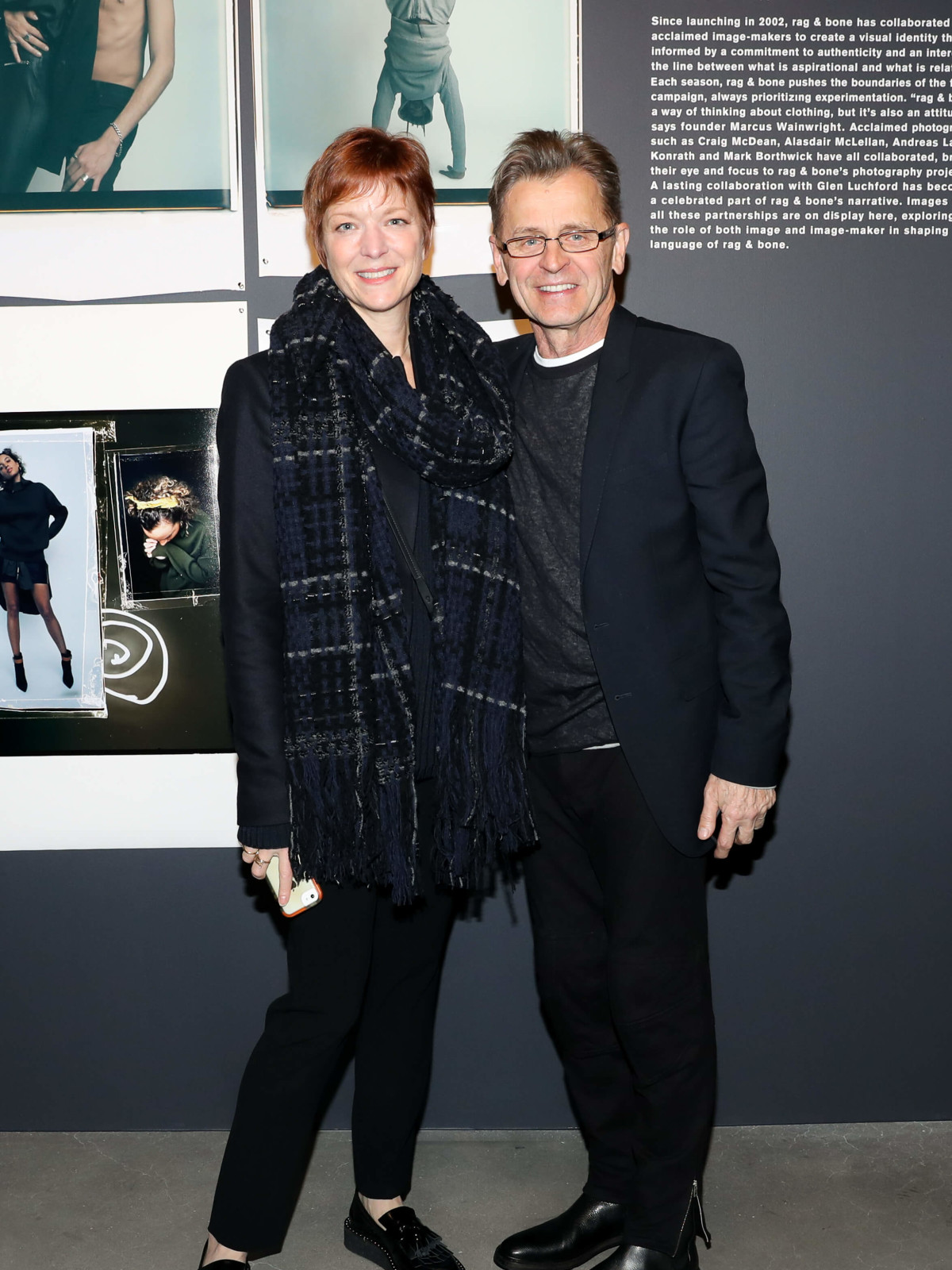 Lisa Rinehart, Mikhail Baryshnikov at Rag & Bone exhibition, party