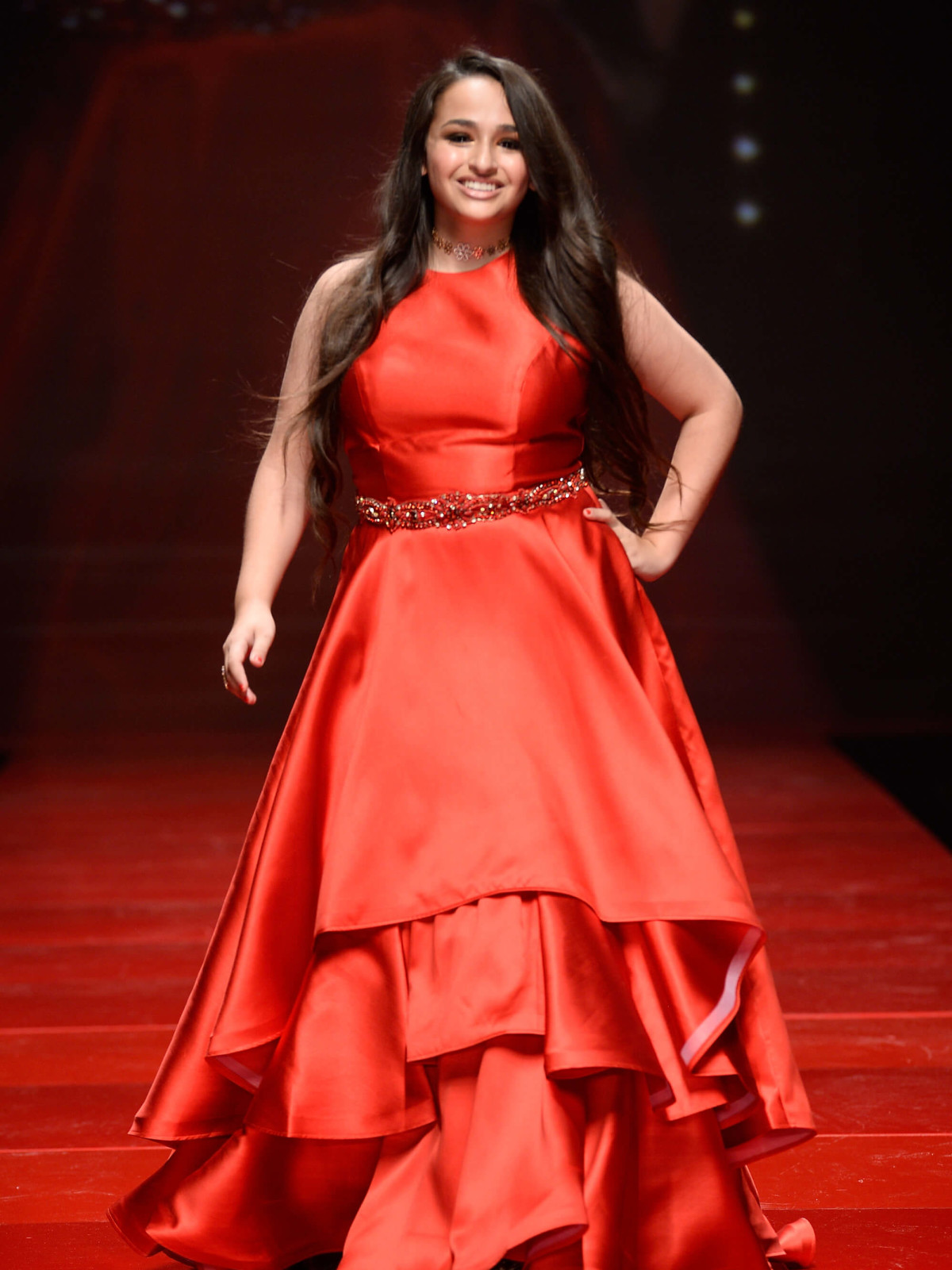 Jazz Jennings walks the runway at the American Heart Association's Go Red For Women Red Dress Collection 2017 p