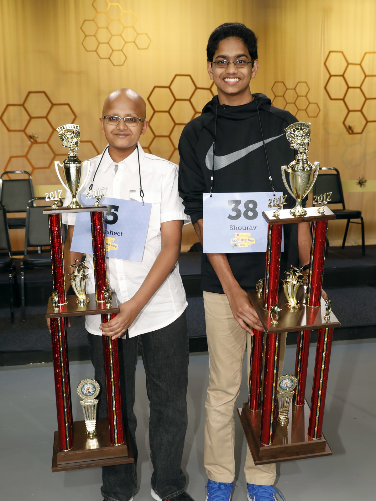 Houston Public Media Spelling Bee runnerup Raksheet Kota and winner Shourav Dasari