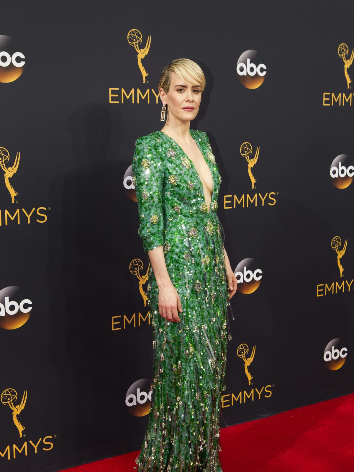Sarah Paulson at Emmy Awards in Pradagown