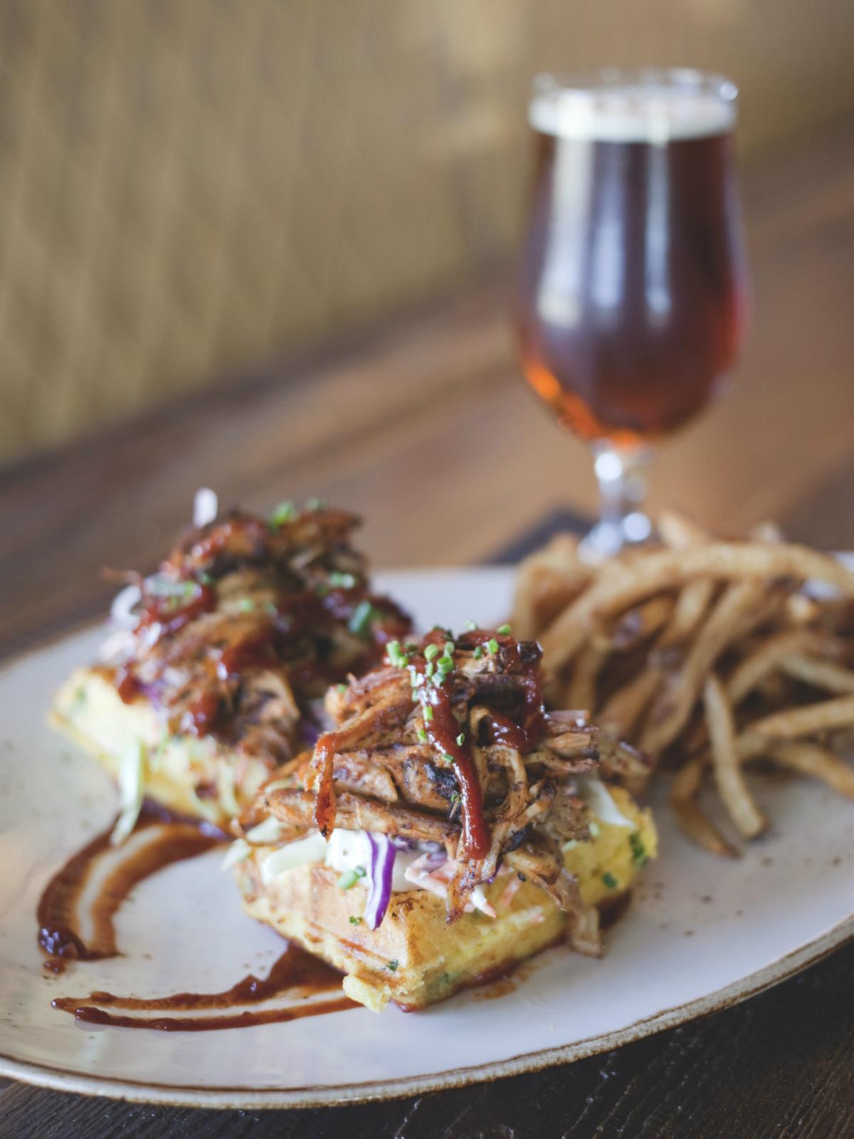 Pork sandwich and beer at Blatt Beer & Table