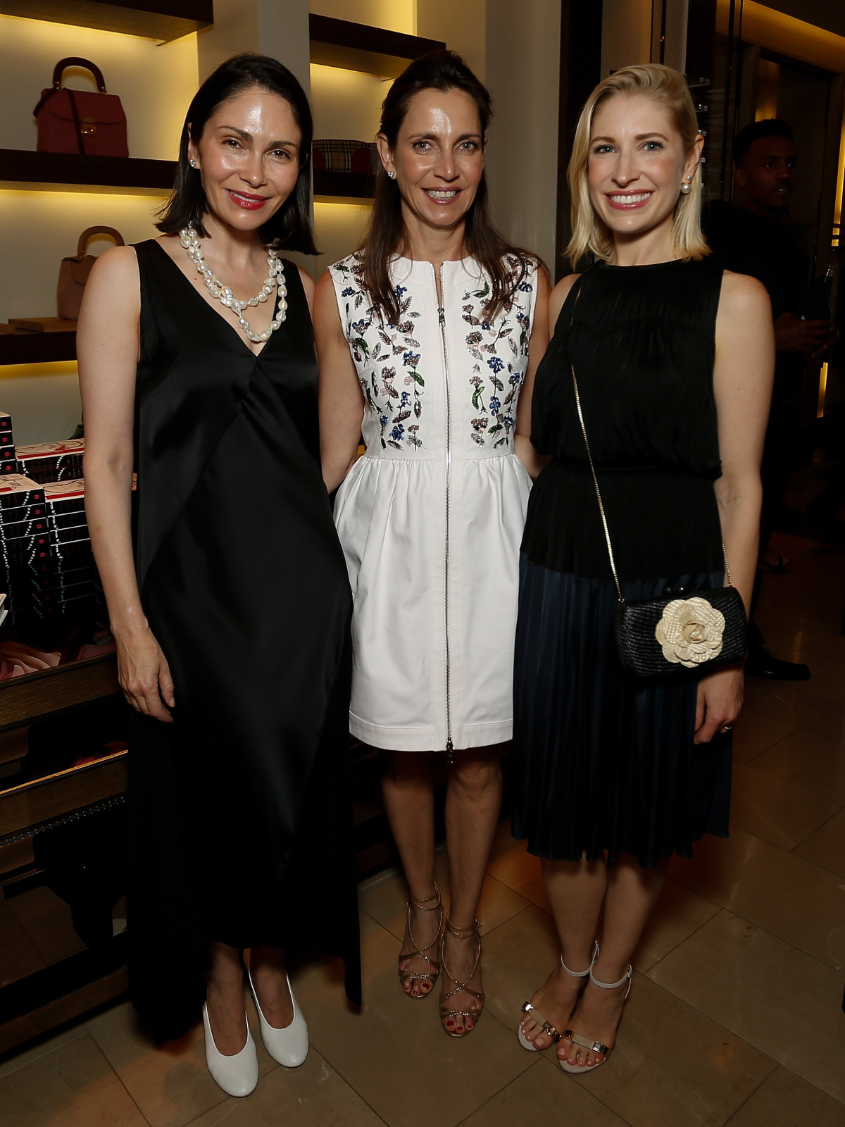 Jennifer Segal, Aliyya Stude, Isabel David at Burberry Plum Sykes book party