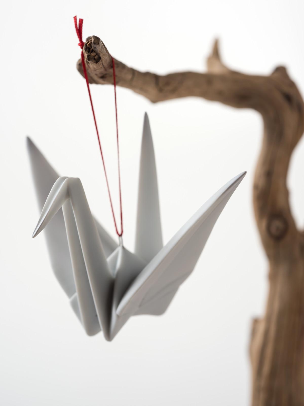 Porcelain crane origami ornament at the Lotus Shop
