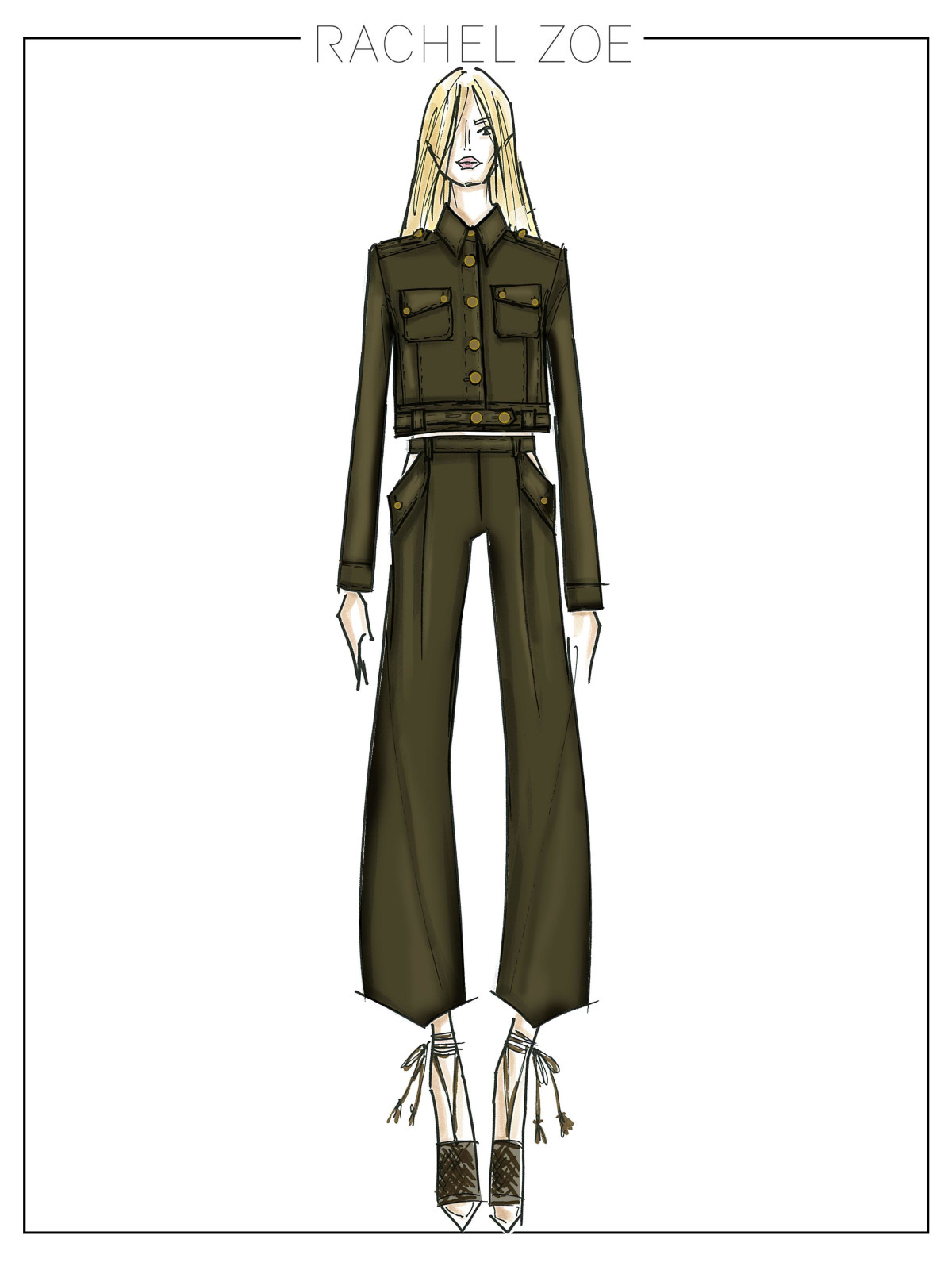 Rachel Zoe inspiration sketch New York Fashion Week spring 2015