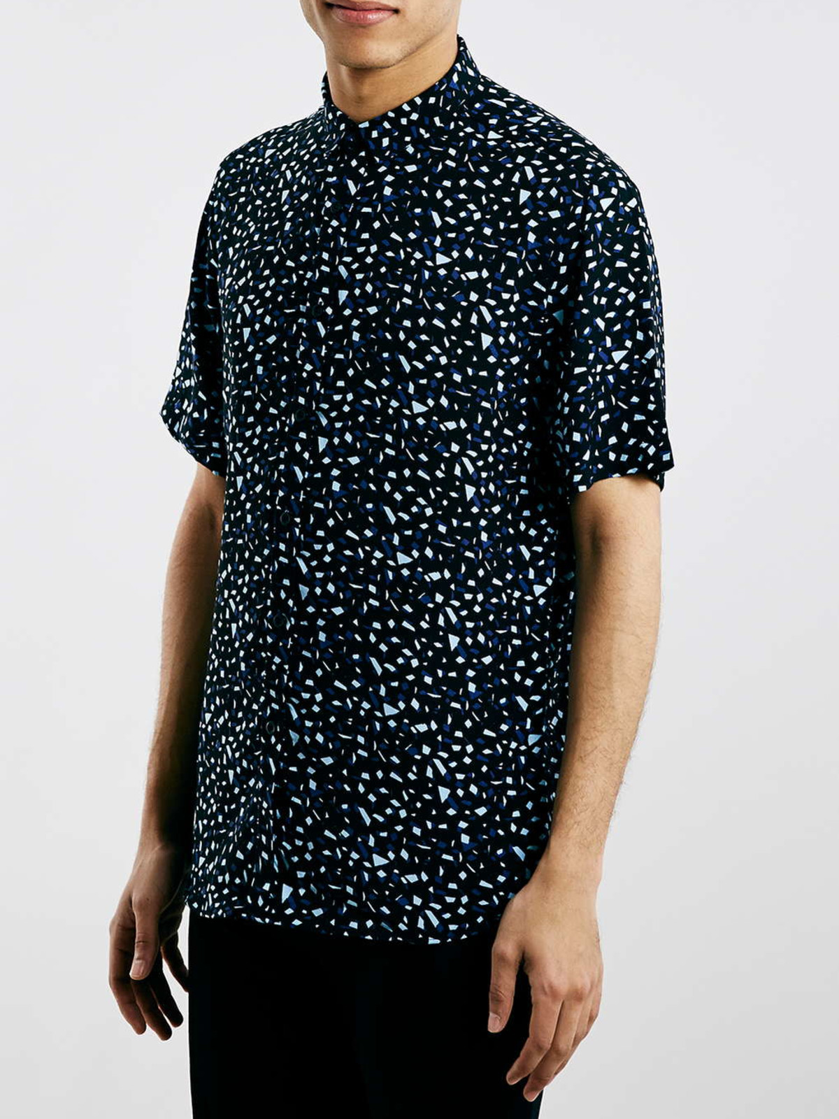 Topman Navy confetti drapey short sleeve smart shirt