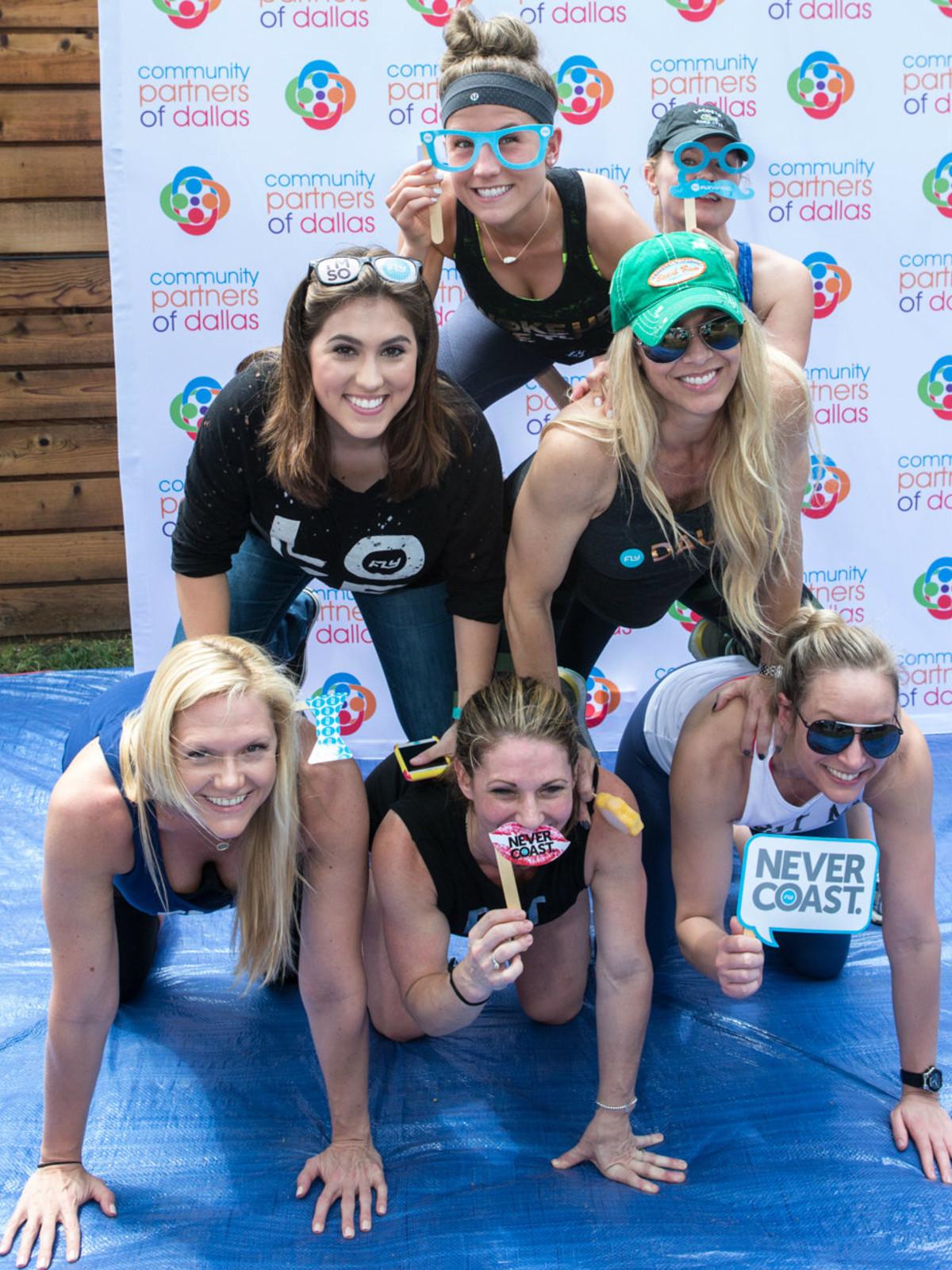 """Team Flywheel Sports"" gaining points at the yCPD social media station:  Top - Chaeley Barber, Missy Quintana; second row - Chelsea Morehart, Kelly Hershman; bottom row: Jolie Laurence, Cristin Caulfield, Mandy Mack"
