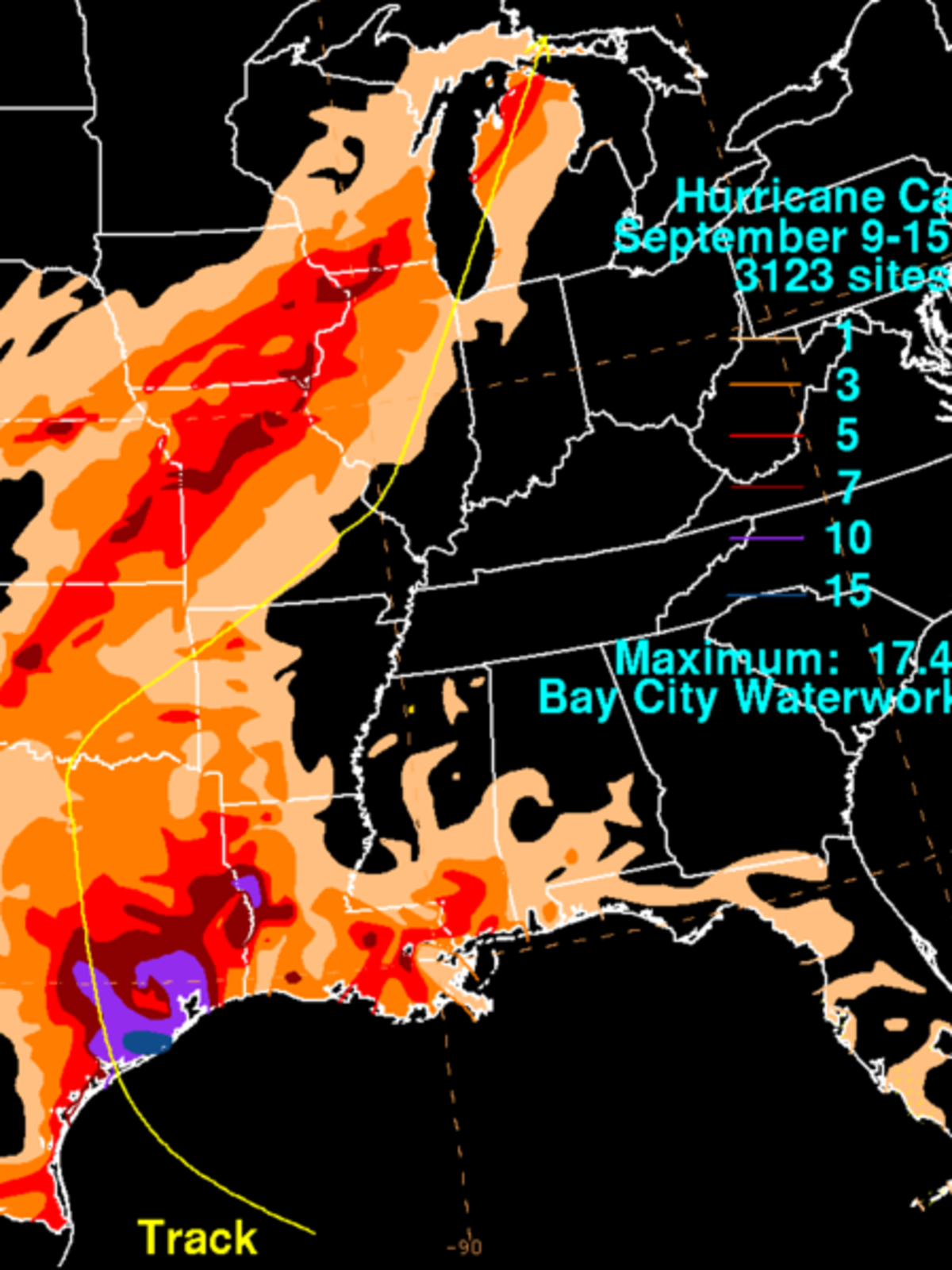 Hurricane Carla rainfall map