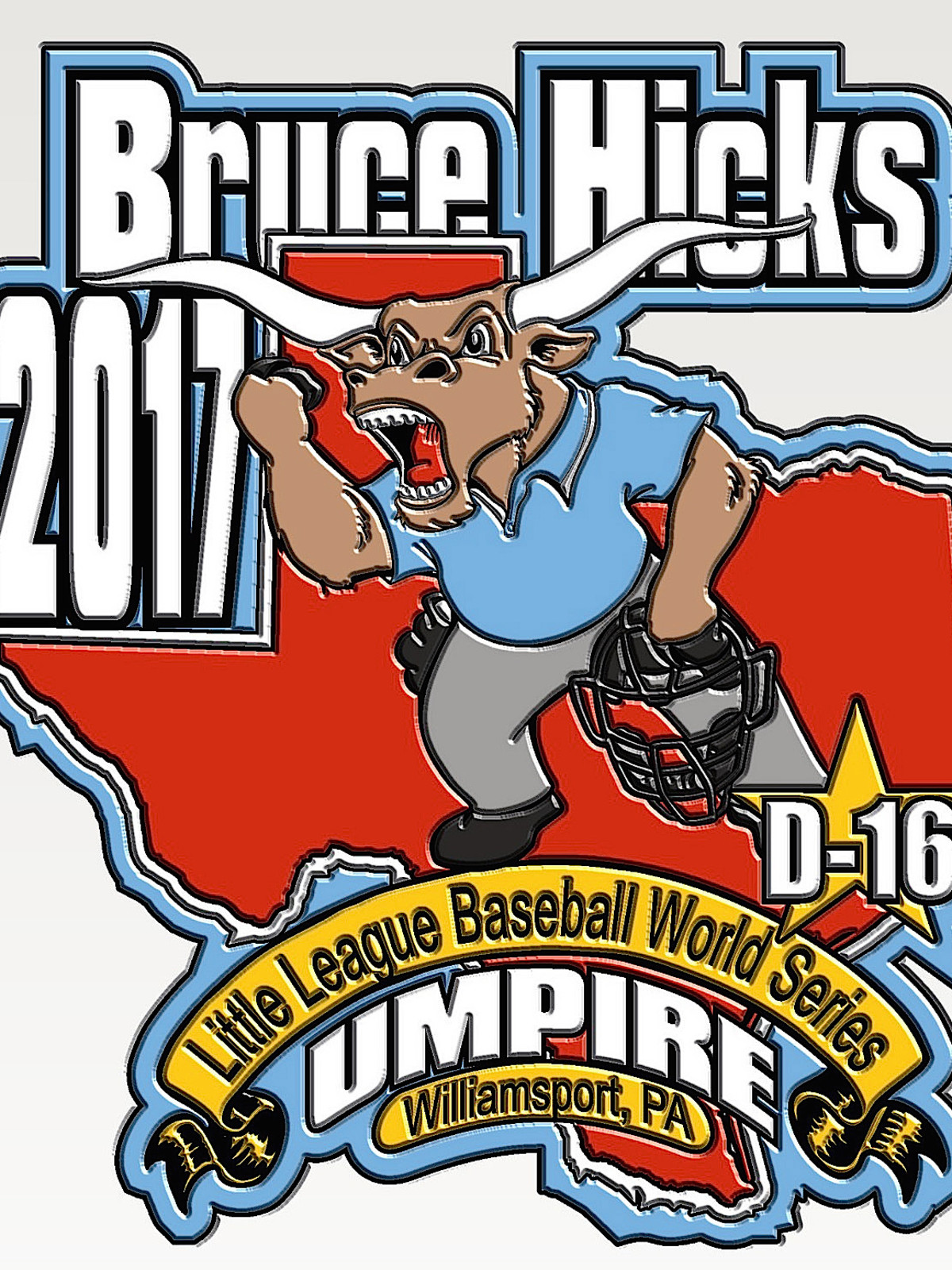 Houston, Bruce Hicks Little League umpire, August 2017, Little League pin