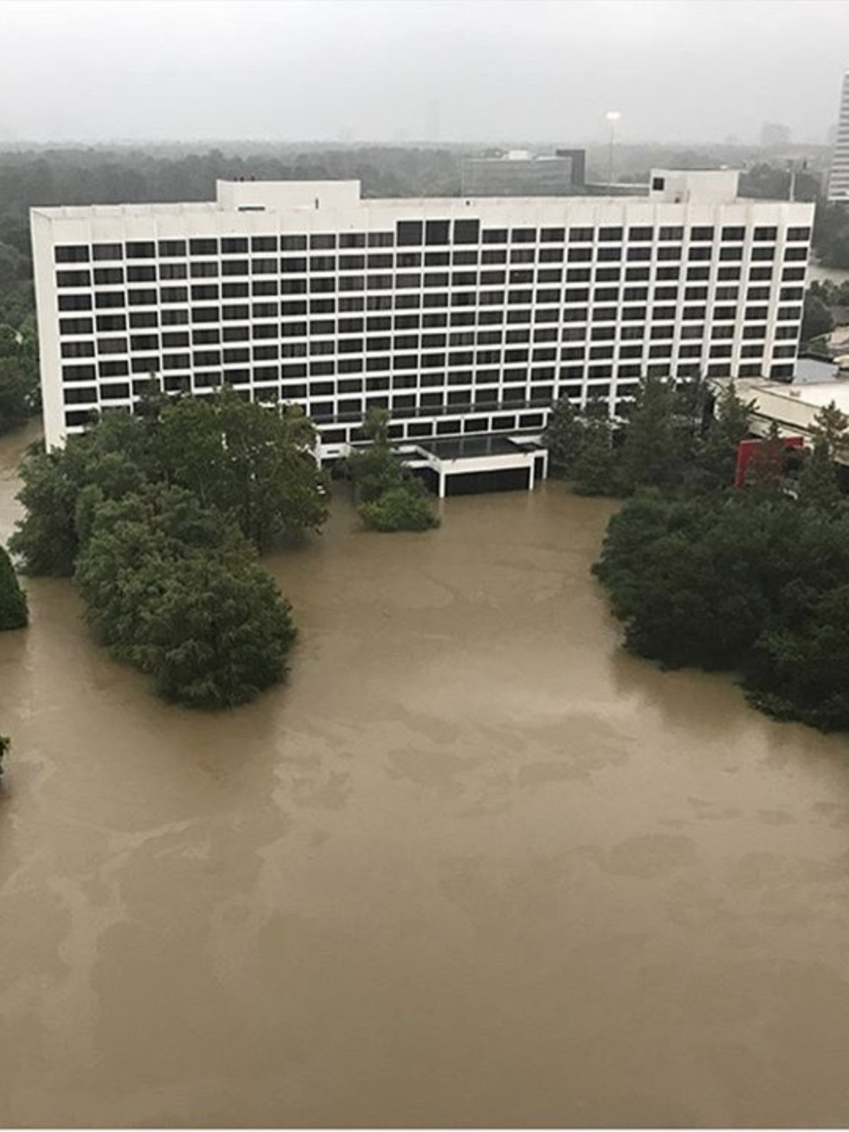 flooding at Houston Omni hotel from Hurricane Harvey