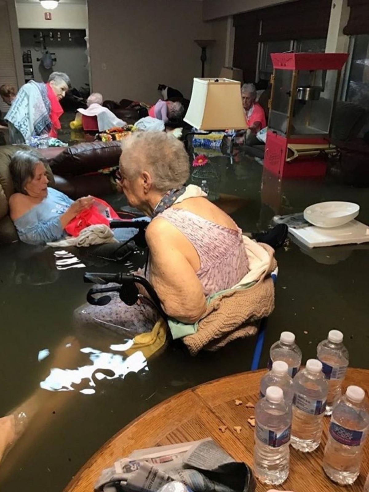 Houston, Hurricane Harvey, flood photos,  La Vita Bella Nursing Home