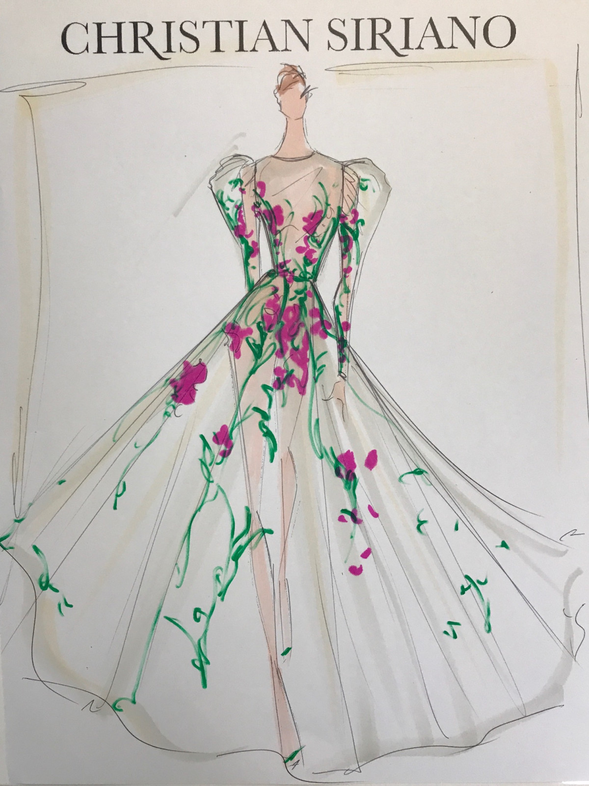 Christian Siriano inspiration sketch spring 2018