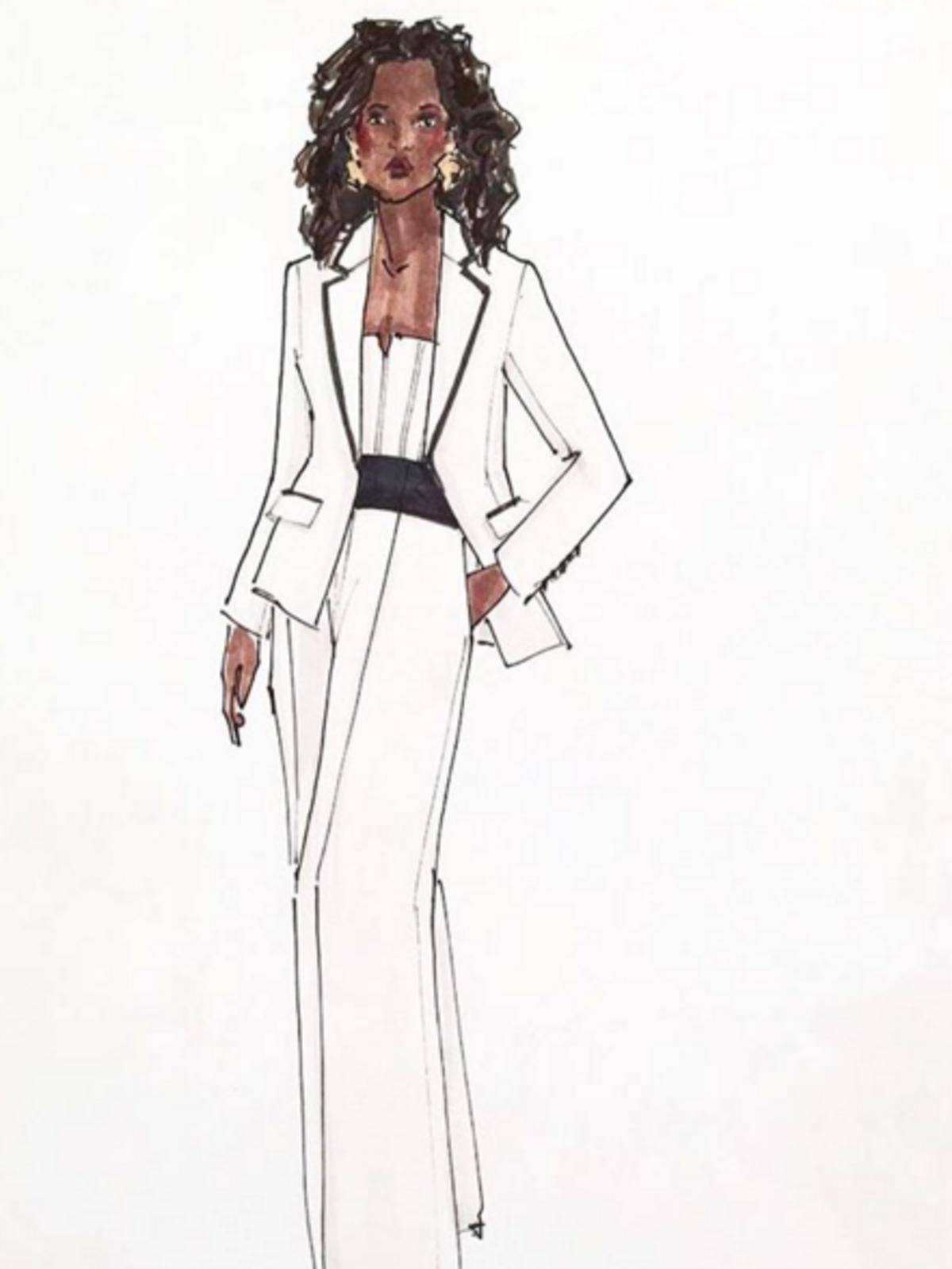 Sketch of Oprah Winfrey pantsuit designed by Elizabeth Kennedy