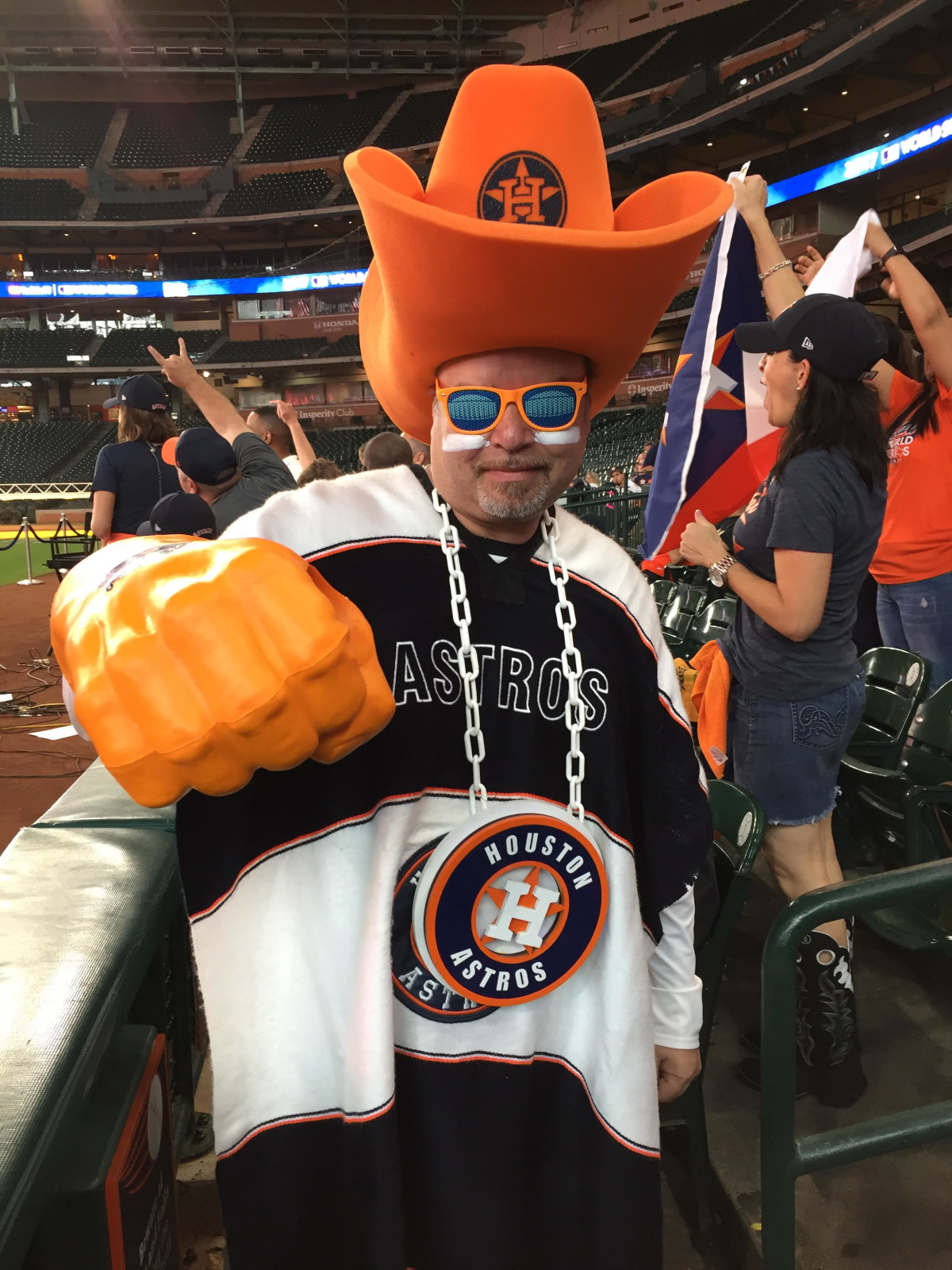 David Arriasola in a foam hat at World Series Game 7 Watch Party at Minute Maid Park