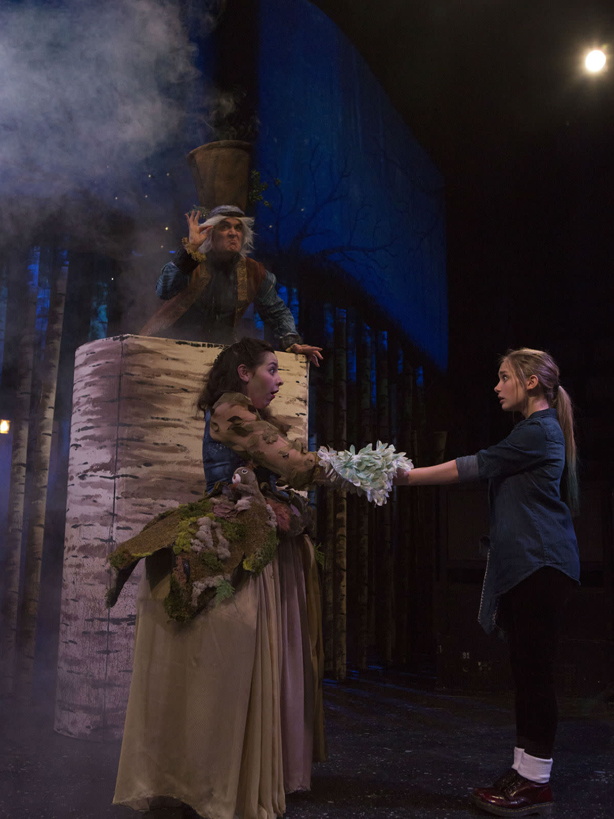 Paul T. Taylor (top), Marti Etheridge, and Sara Grace Prejean in Theatre Three's Solstice