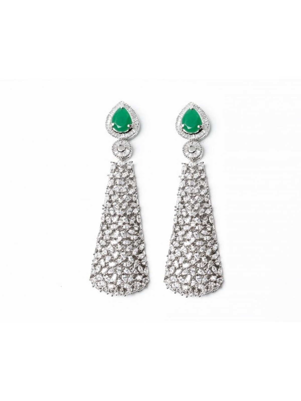Maheen emerald cubic zircon earrings, Holiday Pop-up 2017