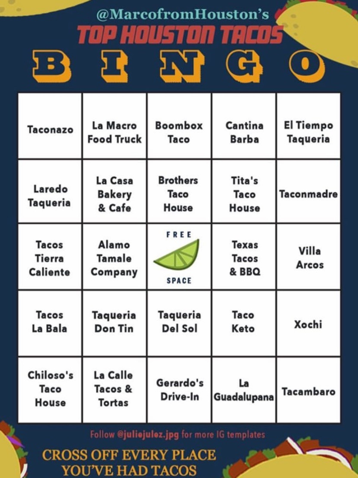 Julie Julez Nong taco shop instagram bingo card