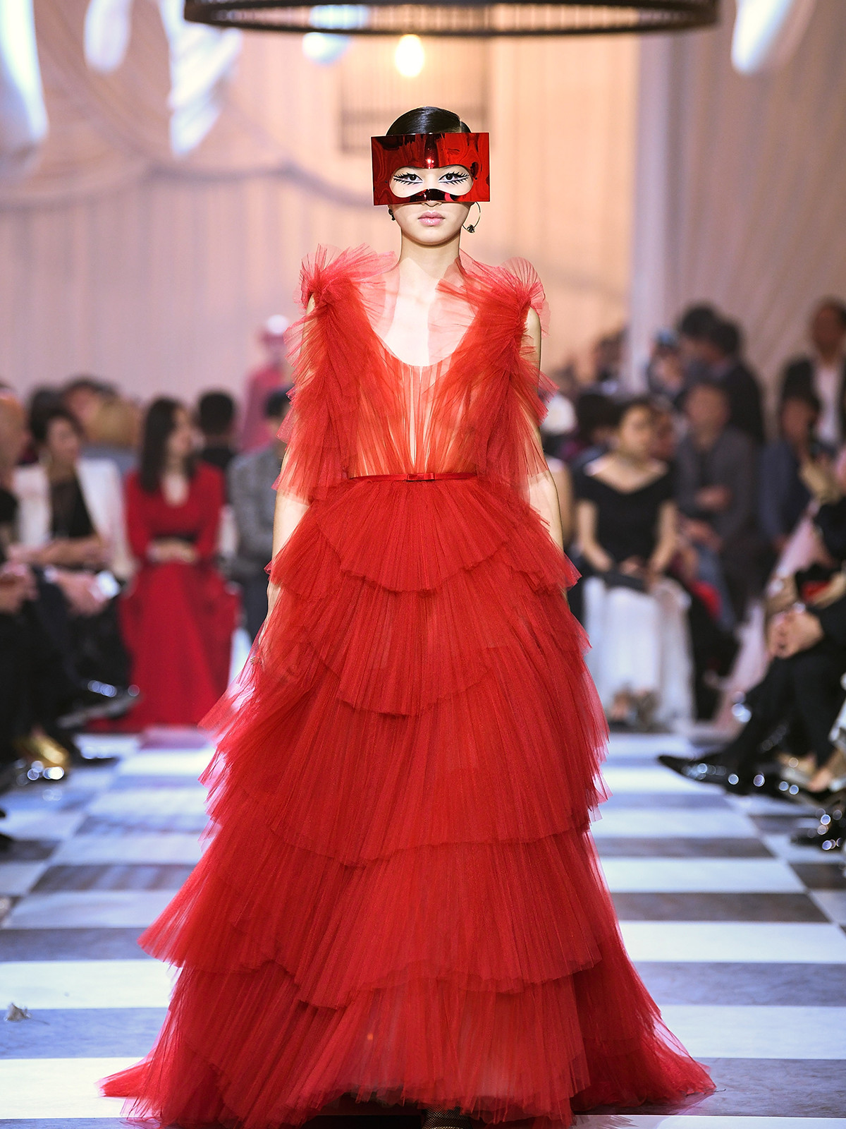 "Maria Grazia Chiuri for Christian Dior. Haute Couture Spring-Summer 2018. ""Dior Red"" ball gown in tiered tulle fans, after the design Francis Poulenc,"