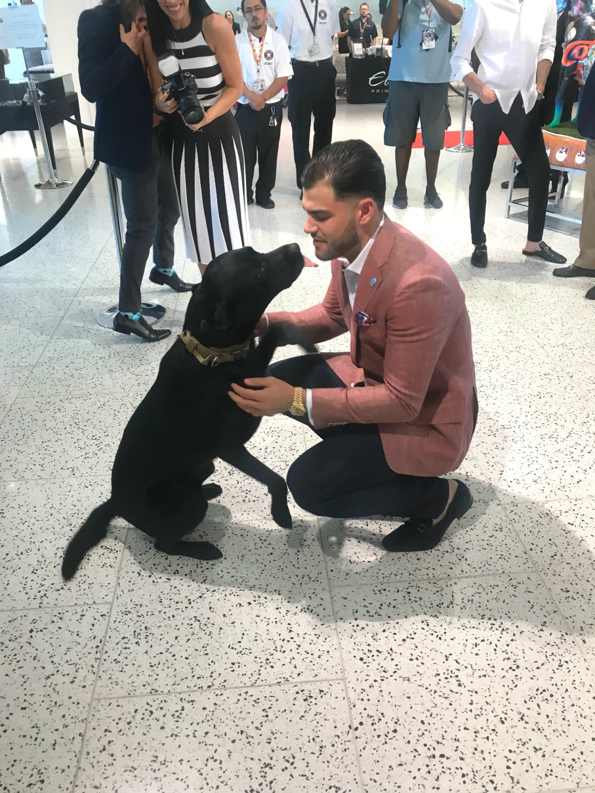Houston Astros Team Up 4 Kids and K9s 2019 Lance McCullers and Blue the dog