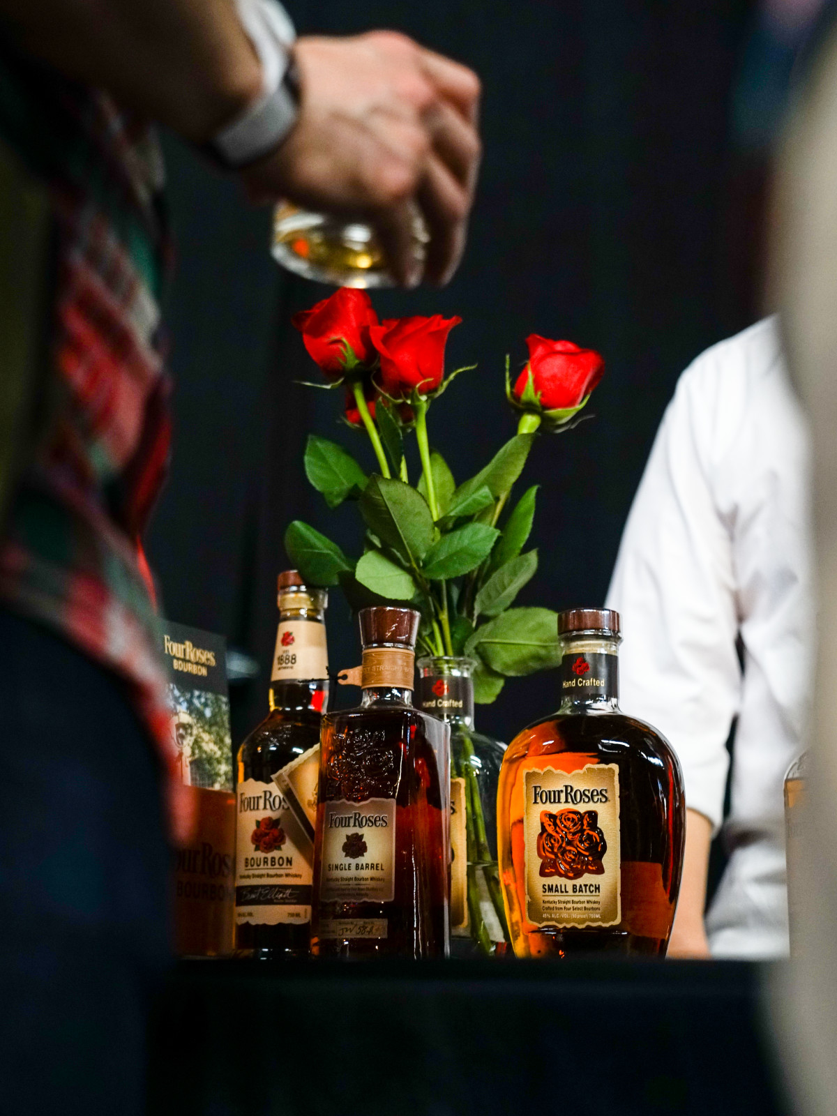 Four Roses bourbon bottles