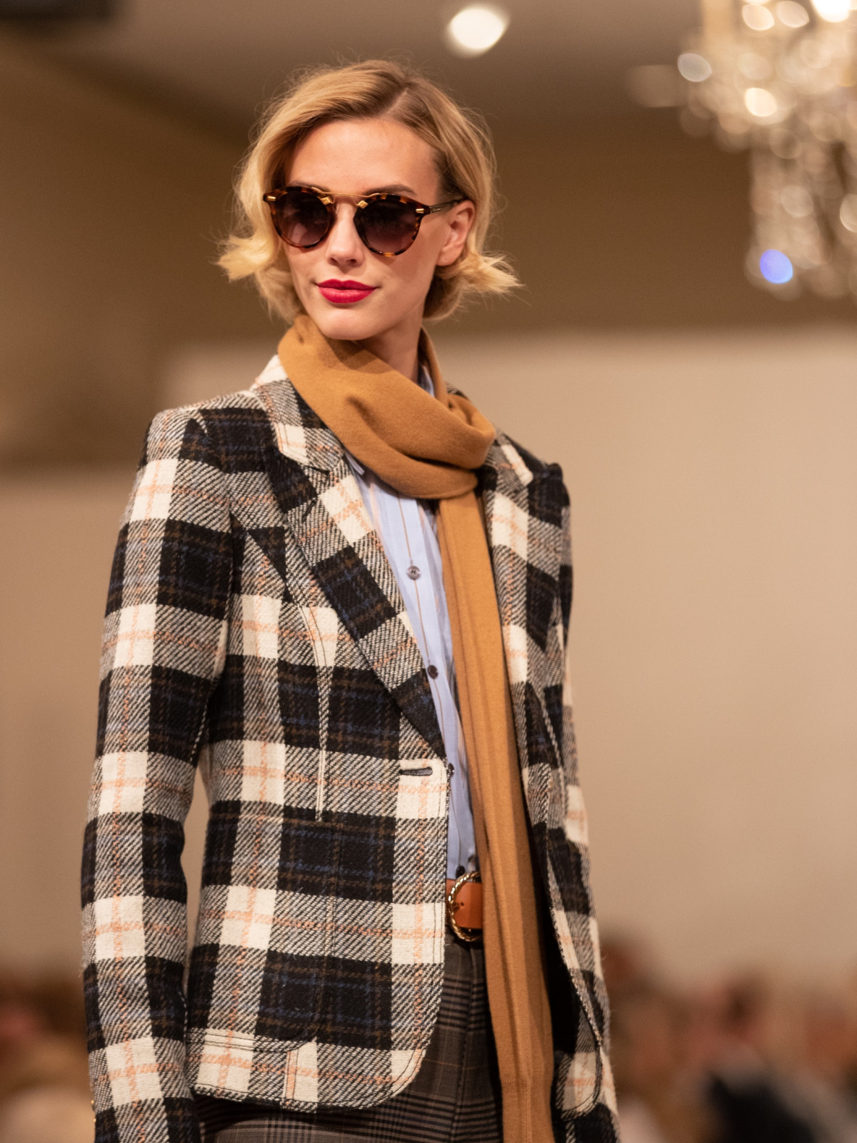 SMYTHE Plaid Blazer, DEREK LAM 10 CROSBY Sky Blouse, SEA Slate Plaid