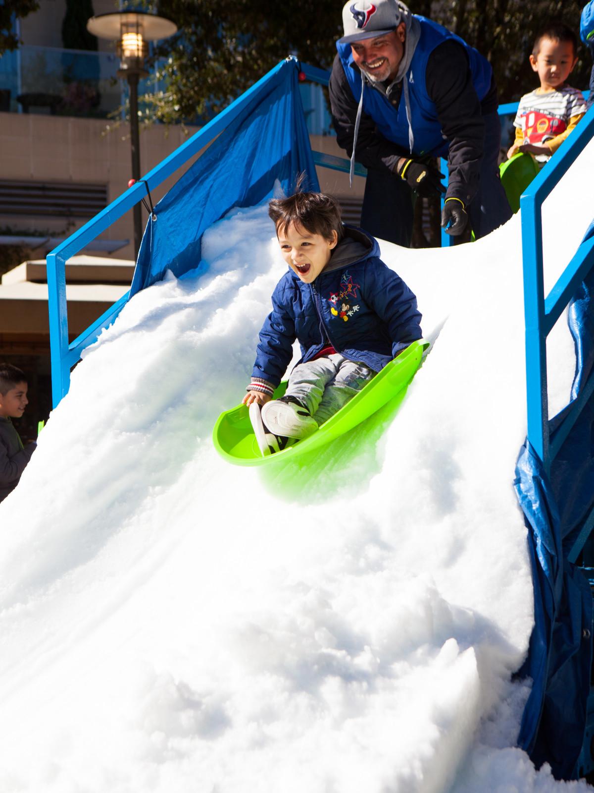 Glisten snow sledding