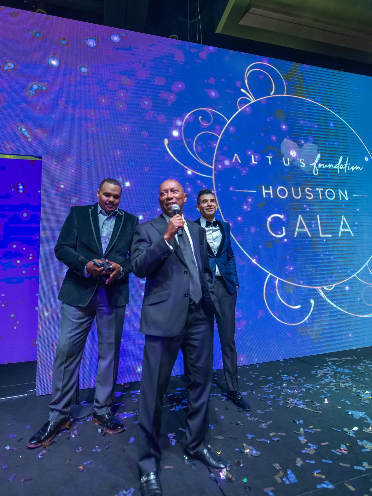Altus Gala 2019 Chester Pitts, Mayor Sylvester Turner, Taseer Badar