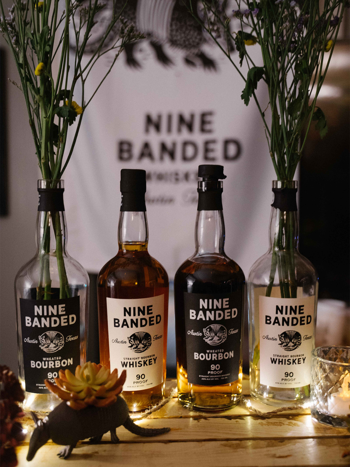 Nine Banded Whiskey and bourbon bottles