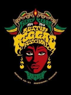 Flyer promoting the Austin Reggae Fest 2013 at Auditorium Shores