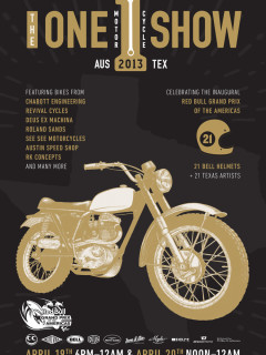 Flyer promoting One Motorcycle Show celebrating motorcycle art and building