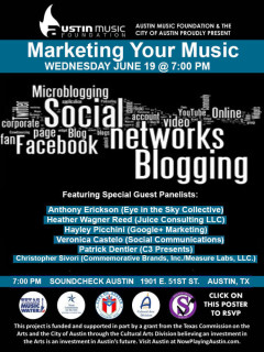 Austin Music Foundation panel Marketing Your Music poster