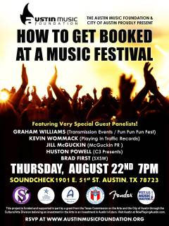 Austin Music Foundation panel How to Get Booked at a Music festival poster