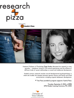 Research and Pizza lecture on teen sexuality with Paige Harden of UT