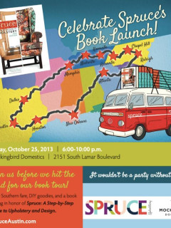flyer for Spruce Upholstery book launch party