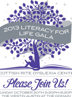 poster for Sixth annual Literacy for Life Gala from Scottish Rite Dyslexia Center