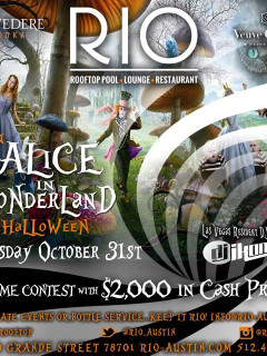 flyer for Alice in Wonderland Halloween party at RIO