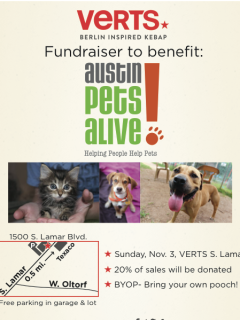 flyer for Austin Pets Alive fundraiser at Verts