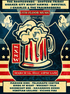 poster for 13th Floor music at Hops and Grain Brewery for SXSW 2014