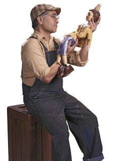 promotional photo of actor as Geppetto in ZACH theatre's Pinocchio