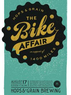 poster Hops & Grain The Bike Affair fundraiser 1400 Miles