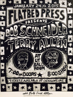 Flatbed Press and Gallery_25th anniversary concert_Bob Schneider_Terry Allen_2015