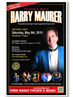 """""""The Comedy & Magic of Harry Maurer"""" benefiting Bear Creek-Copperfield Rotary"""