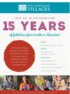Ten Thousand Villages 15th Anniversary Celebration