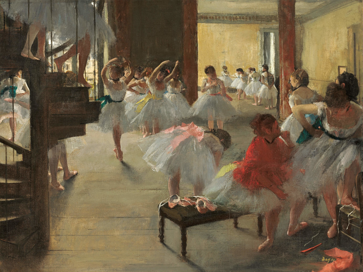 Edgar Degas, The Dance Class, c. 1873, oil on canvas, National Gallery of Art, Washington DC, Corcoran Collection (William A. Clark Collection).