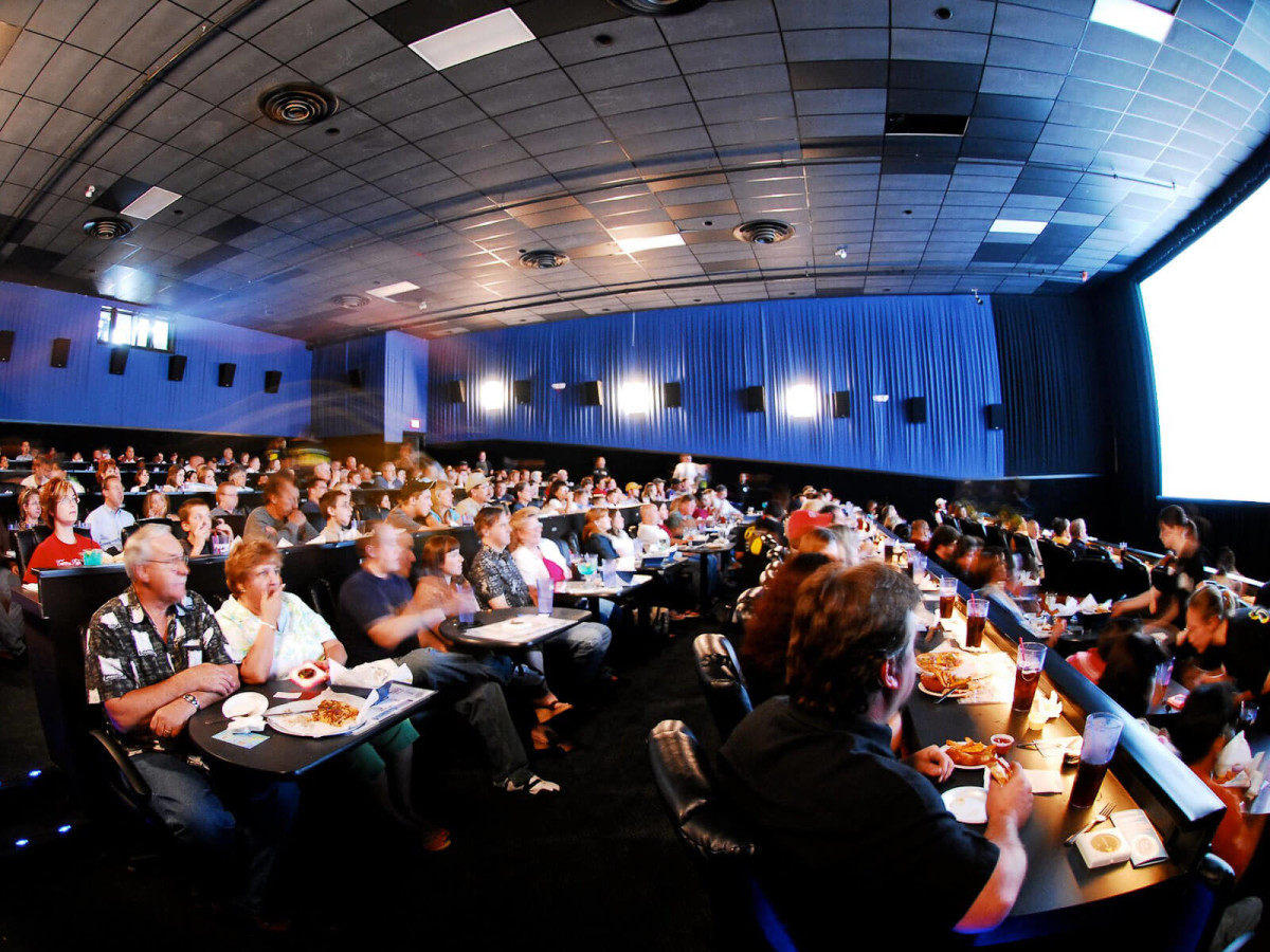 Studio Movie Grill, theater, crowd, watching a movie